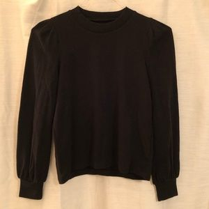 MADEWELL Black Puff-Shoulder Sweater